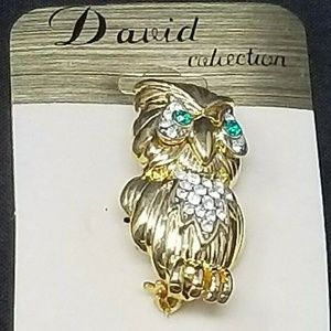 "owl bird brooch pin 2.5"" gold rhinestones"